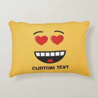 Smiling Face with Heart-Shaped Eyes Accent Pillow