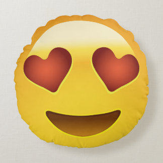Smiling Face With Heart Shaped Eyes Emoji Round Pillow