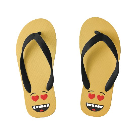Smiling Face with Heart-Shaped Eyes Kid's Flip Flops