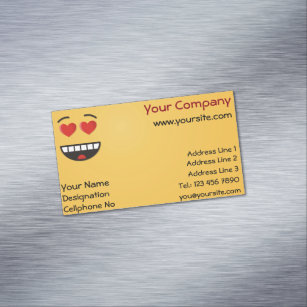 Heart shaped business cards business card printing zazzle ca smiling face with heart shaped eyes magnetic business card colourmoves