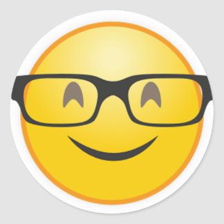Smiling face with nerd glasses funny emoji sticker