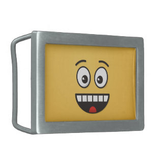 Smiling Face with Open Mouth Rectangular Belt Buckle