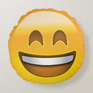Smiling Face With Open Mouth & Smiling Eyes Emoji Round Pillow