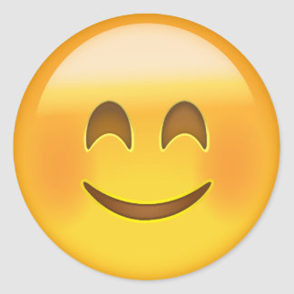 Smiling Face With Smiling Eyes Emoji Classic Round Sticker