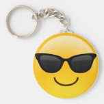 Smiling Face With Sunglasses Cool Emoji Basic Round Button Keychain
