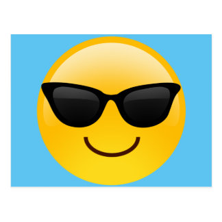 Smiling Face With Sunglasses Cool Emoji Postcard