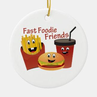Smiling Fast Foodie Friends Ceramic Ornament