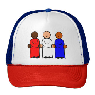 Smiling Figures Red White Blue Together America Trucker Hat