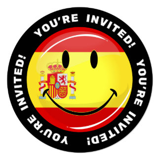 "Smiling Flag of Spain 5.25"" Square Invitation Card"