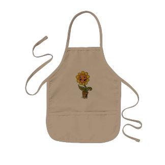 smiling flower cartoon kids apron