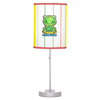 SMILING FROG WITH COLORFUL STRIPES WITH RED TRIM DESK LAMPS