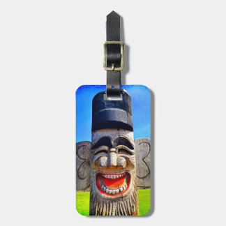 Smiling, funny, laughing teeth wooden face photo luggage tag