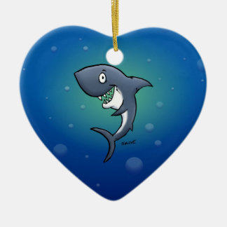 Smiling Funny Shark on Blue Background Ceramic Ornament