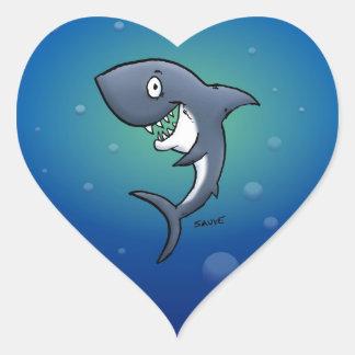 Smiling Funny Shark on Blue Background Heart Sticker