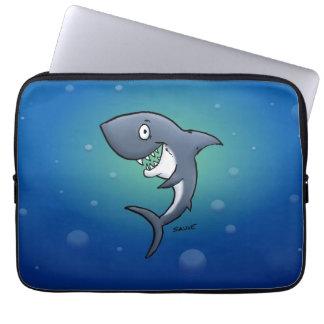 Smiling Funny Shark on Blue Background Laptop Computer Sleeve