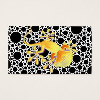 Smiling Gecko on black dots + your text Business Card