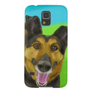 Smiling German Shepherd on Green & Blue Background Galaxy S5 Cover