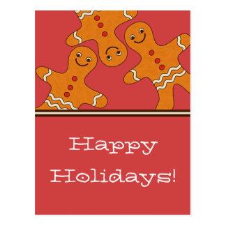 Smiling Gingerbread Men Christmas Postcard