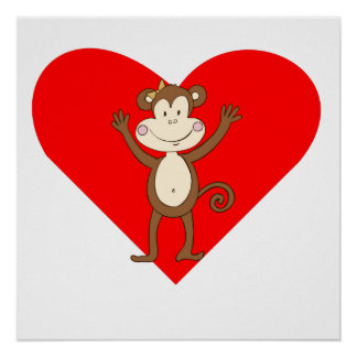 Smiling Girl Monkey Heart Posters