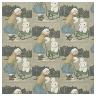 Smiling Girl Snowman Sleigh Snow Woods Fabric
