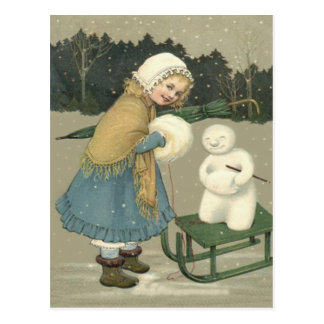 Smiling Girl Snowman Sleigh Snow Woods Postcard