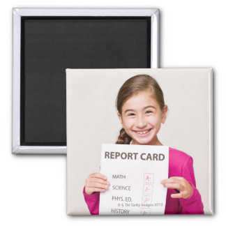 Smiling girl student proud of report card square magnet