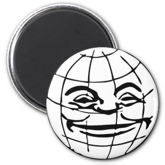 Smiling Globe, earth, face, happy world, grinning 2 Inch Round Magnet