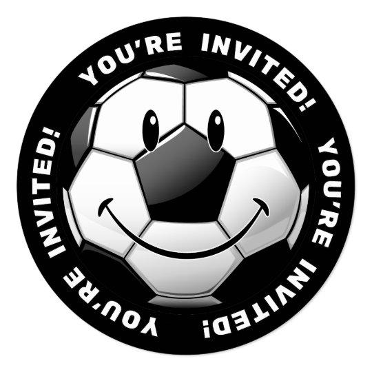 Smiling Glossy Soccer Ball Invites