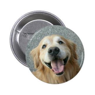 Smiling Golden Retriever 2 Inch Round Button