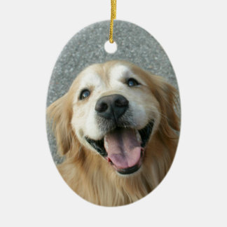 Smiling Golden Retriever Ceramic Ornament