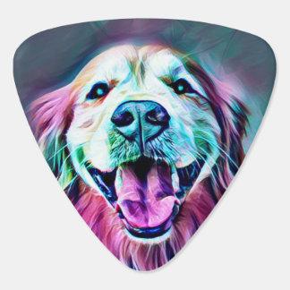 Smiling Golden Retriever Dog in Neon Colors Guitar Pick