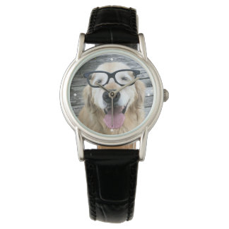 Smiling Golden Retriever Dog in Nerd Glasses Watch