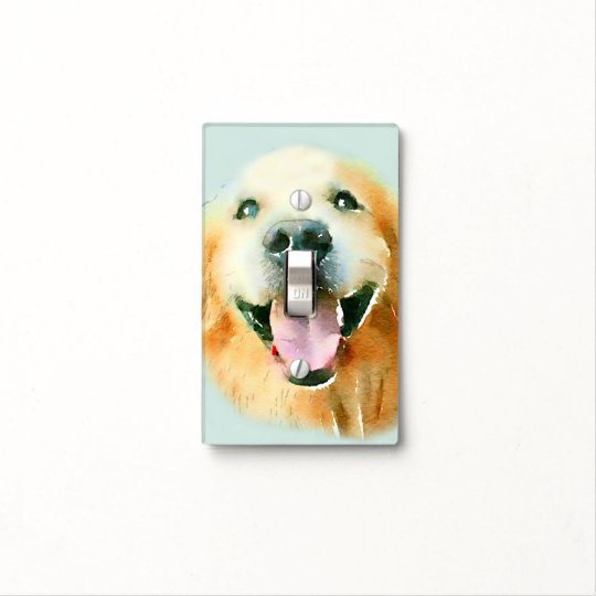 Smiling Golden Retriever Dog in Watercolor Light Switch Cover