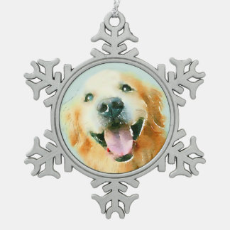 Smiling Golden Retriever Dog in Watercolor Snowflake Pewter Christmas Ornament