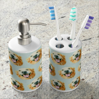 Smiling Golden Retriever Dog in Watercolor Soap Dispenser And Toothbrush Holder
