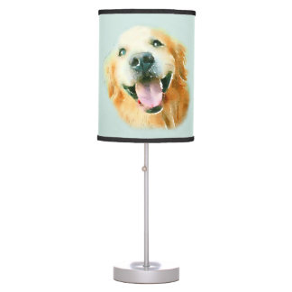 Smiling Golden Retriever Dog in Watercolor Table Lamp