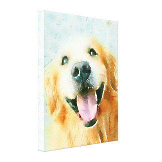 Smiling Golden Retriever in Watercolor Canvas Print