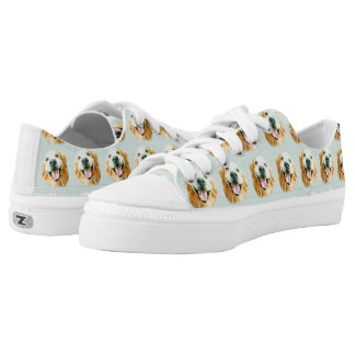 Smiling Golden Retriever in Watercolor Low-Top Sneakers