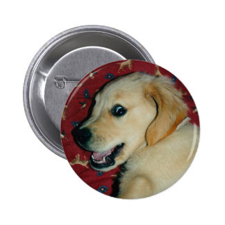 Smiling Golden Retriever Puppy Pinback Buttons