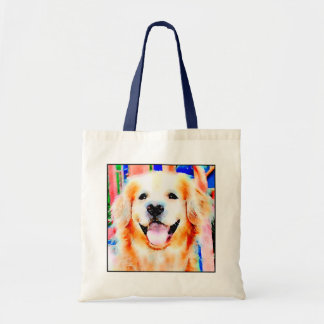 Smiling Golden Retriever Watercolor Portrait Tote Bag