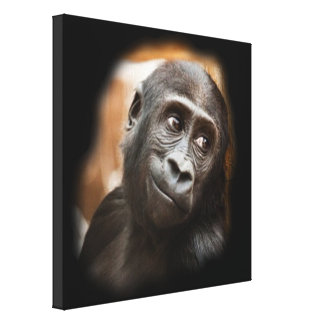 smiling gorilla baby gallery wrapped canvas
