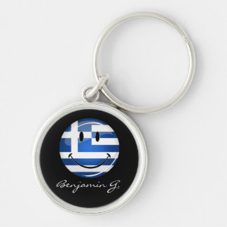 Smiling Greek Flag Silver-Colored Round Keychain