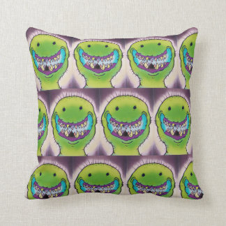 Smiling Green Monster Throw Pillow