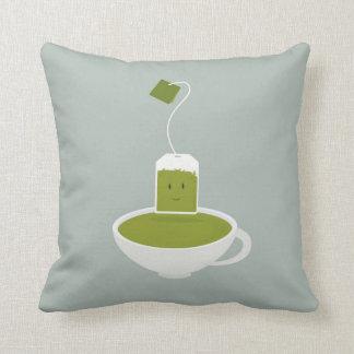 Smiling green tea bag with tea cup throw pillow