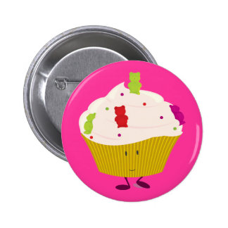 Smiling gummy bear cupcake buttons