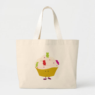 Smiling gummy bear cupcake canvas bags