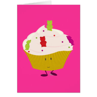 Smiling gummy bear cupcake card