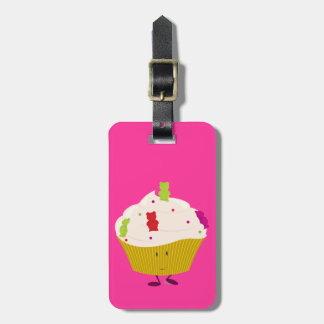 Smiling gummy bear cupcake tag for luggage