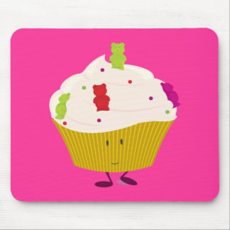 Smiling gummy bear cupcake mouse pads