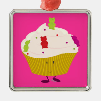 Smiling gummy bear cupcake ornament